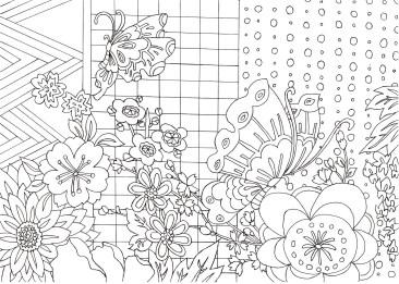 花と蝶の格子模様の塗り絵