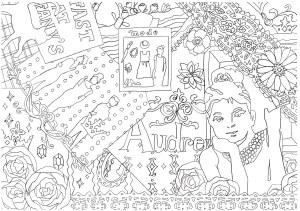ヘップバーンと花の塗り絵