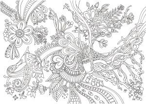 アラベスク風の花の塗り絵
