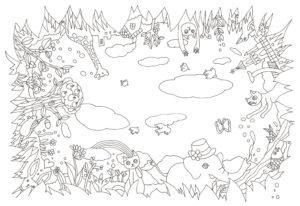 全方向の図柄の動物の塗り絵