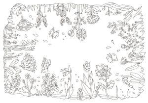全方向の図柄の花の塗り絵