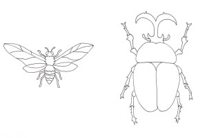 カブトムシと蜂の塗り絵