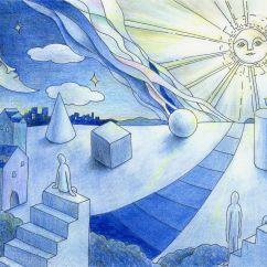 太陽と月の塗り絵の完成図