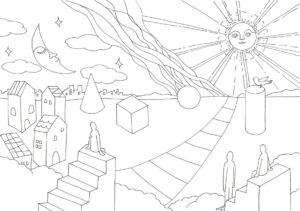 太陽と星のある風景の塗り絵