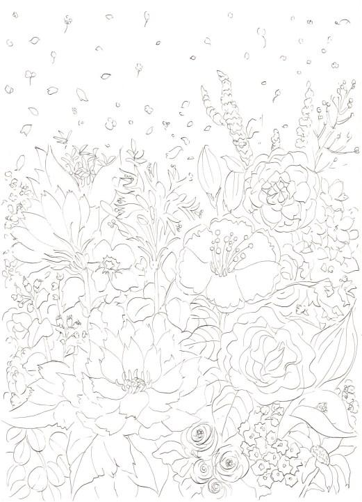 花咲く花壇の塗り絵