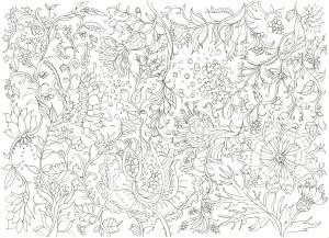 細密な花模様の塗り絵
