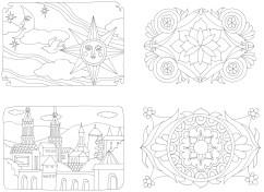 お城と月と太陽の塗り絵