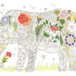 象のシルエットの花のブーケの塗り絵