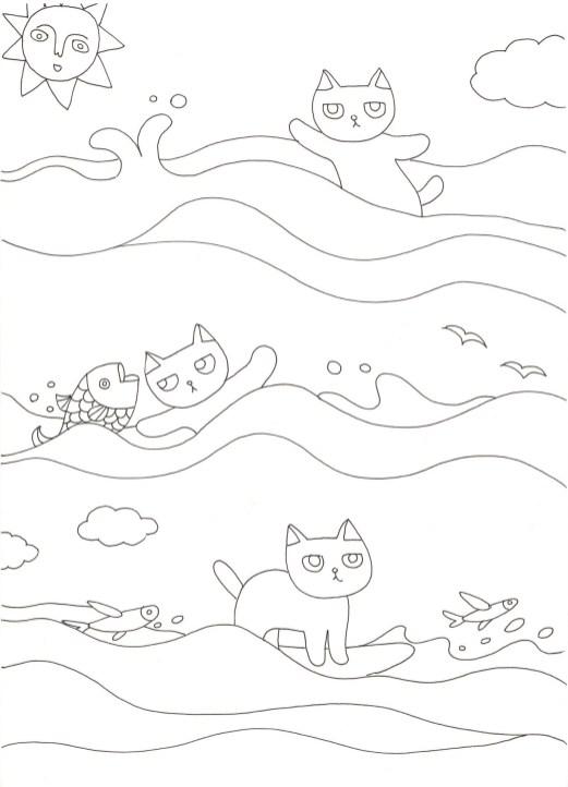 ぶさ可愛い猫サーフィンしている塗り絵