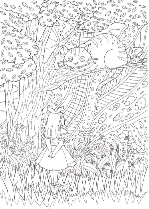 不思議の国のアリスのチェシャ猫のシーンの塗り絵です。   ぬりえラボ