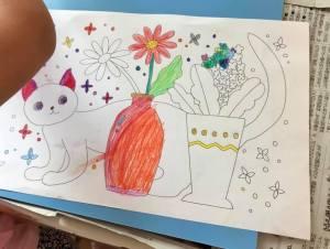 花と猫の塗り絵の完成図