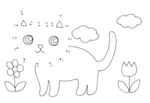 猫の顔の点つなぎ
