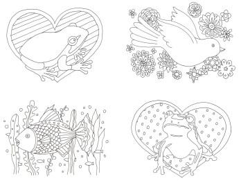 カエルと鳥の塗り絵