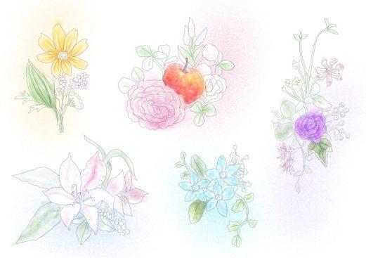 5種類のアレンジメントフラワーの塗り絵