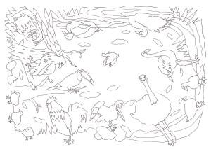 360度全方向から塗れる鳥の塗り絵