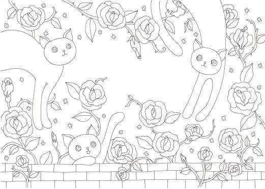 バラの花と猫の塗り絵