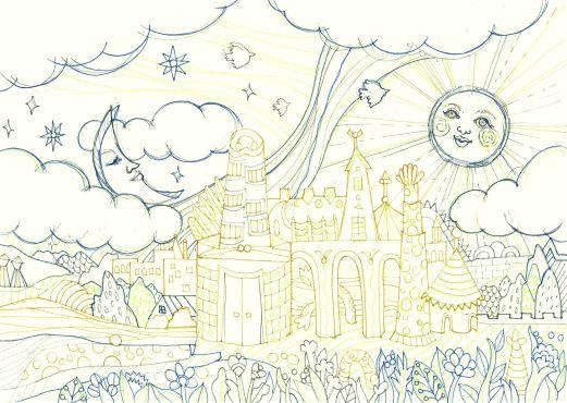 太陽と月のおとぎ話の国の塗り絵