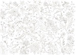 鳥たちが遊ぶ花園の塗り絵
