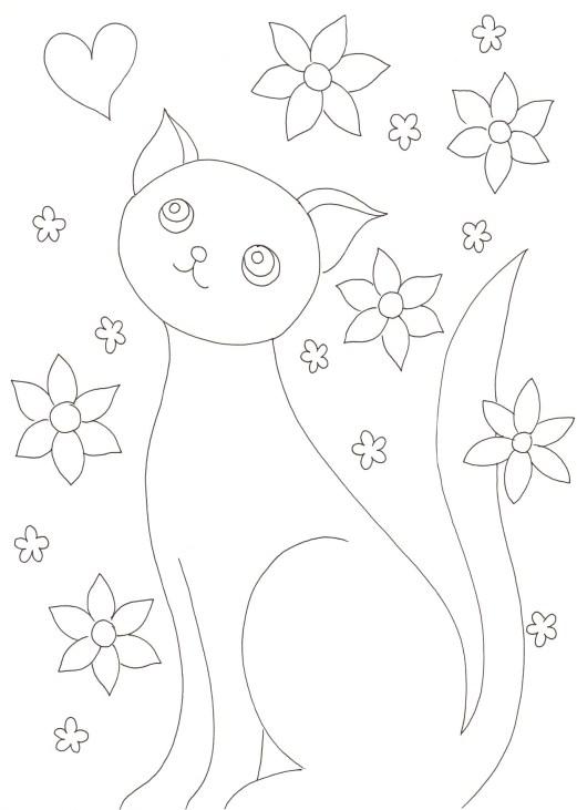 猫と花とハートの塗り絵