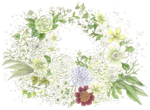 花でできたリースの塗り絵