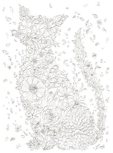 猫の形の花のブーケの塗り絵