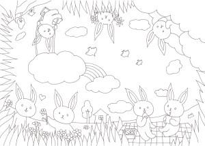 360°全方向から塗れるウサギの塗り絵