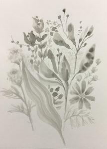 墨で描いた花の絵
