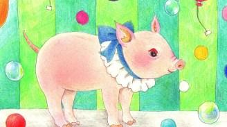 シャボン玉と子豚の塗り絵
