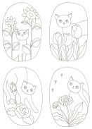 お花とネコの塗り絵