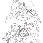 鶴と亀の長寿を願う吉祥塗り絵です ぬりえラボ
