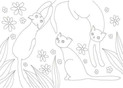 3匹の猫と花の塗り絵