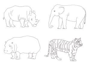 4種類の動物塗り絵(サイ・ゾウ・カバ・トラ)