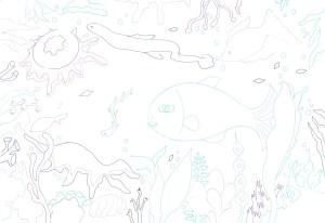 海の底の生き物の塗り絵