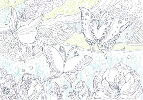 蝶と花の塗り絵
