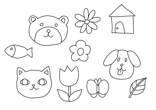 ネコとイヌとクマのシンプルな塗り絵