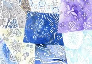 藍染の模様の塗り絵