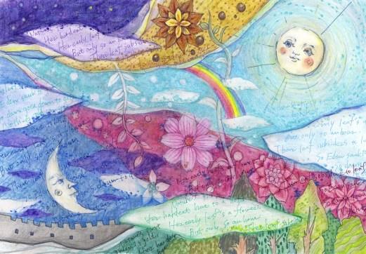 花と月と太陽の塗り絵