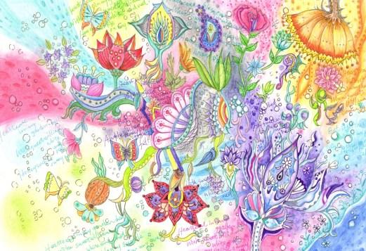 咲き乱れる花の様子の塗り絵