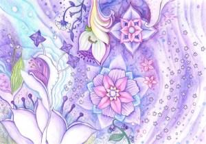 薄紫の花の塗り絵見本