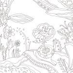 不思議な植物の庭の塗り絵