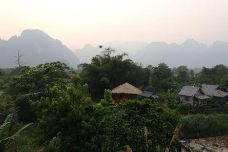 Vang Vieng Aussicht vom Hostel