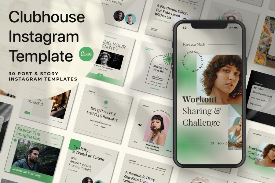 Clubhouse Instagram Templates Canva