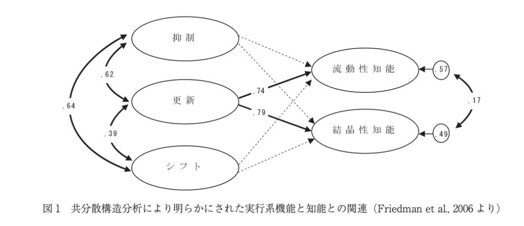 ワーキングメモリと実行系機能の図