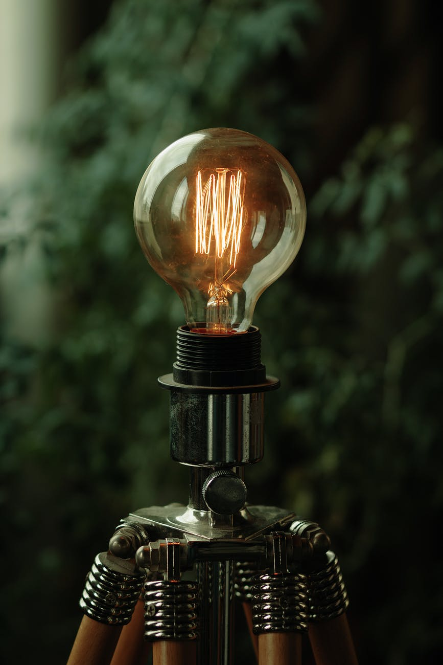 iridescent light bulb is turned on