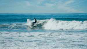 a surfer riding the sea waves