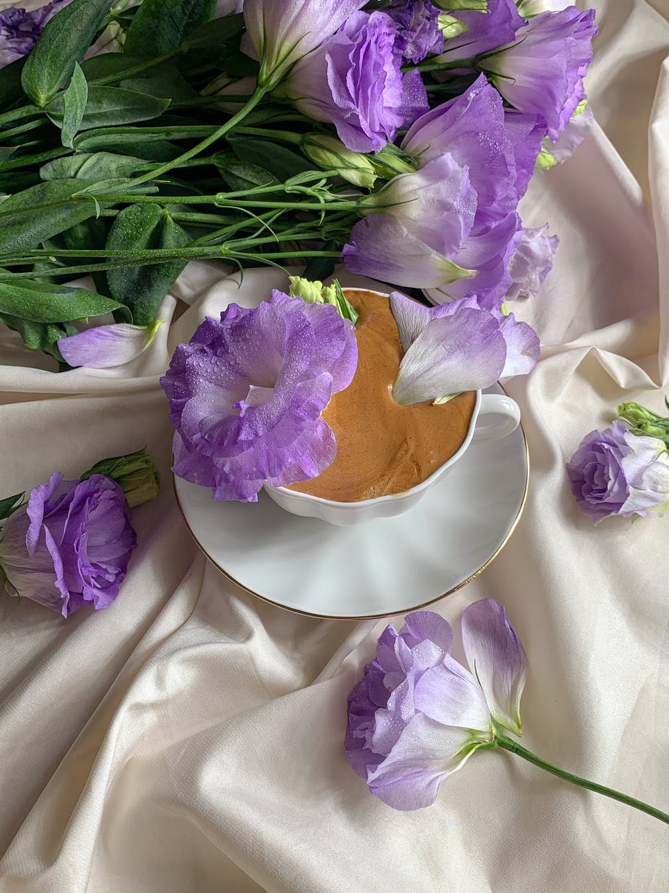 flowers and a cup of coffee