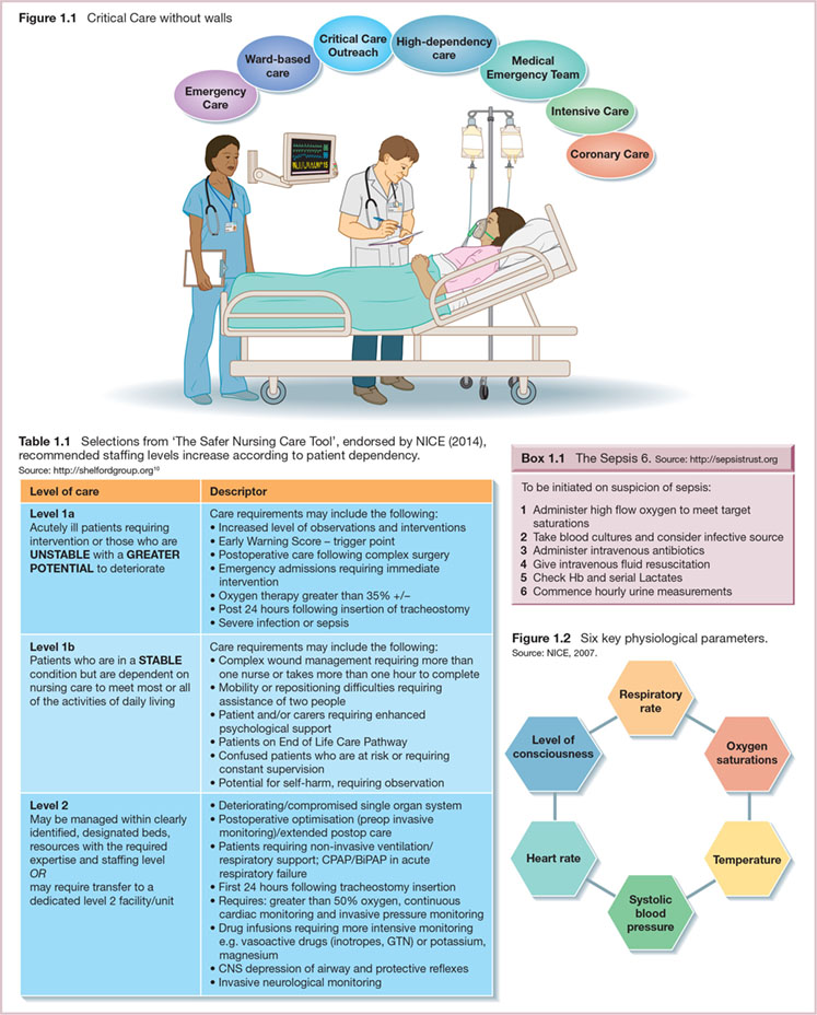 Diagram shows critical care without walls (Emergency, Intensive, Coronary Care, et cetera), sepsis 6. S (Administer high flow oxygen, Administer intravenous antibiotics, et cetera), six key physiological parameters (Respiratory Rate, Temperature, et cetera). It also shows table with level of care with descriptor.