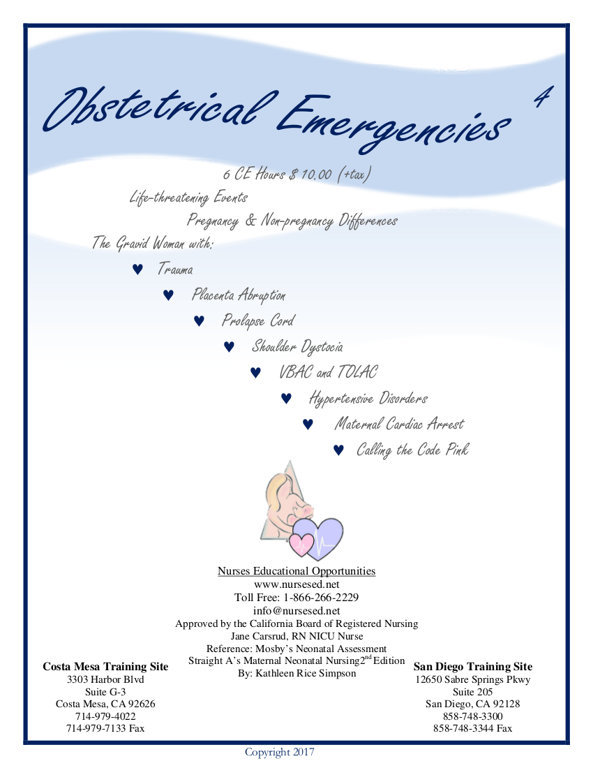 Obstetrical Emergencies Home Course 2017