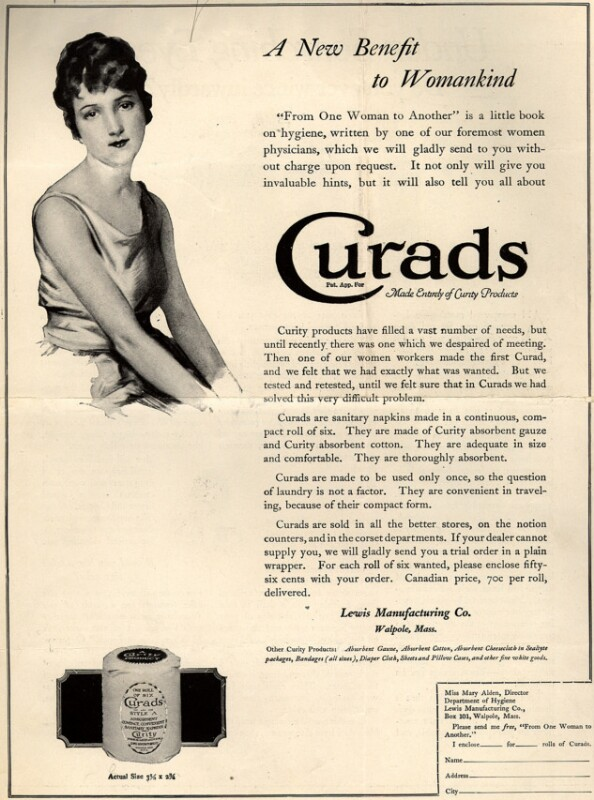 """1920 advertisement for Curads Sanitary Napkins, touting them as """"A New Benefit to Womankind."""" (Vogue/Ad*Access, Duke University Libraries)"""