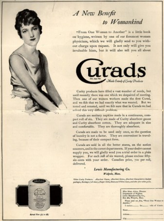 "1920 advertisement for Curads Sanitary Napkins, touting them as ""A New Benefit to Womankind."" (Vogue/Ad*Access, Duke University Libraries)"